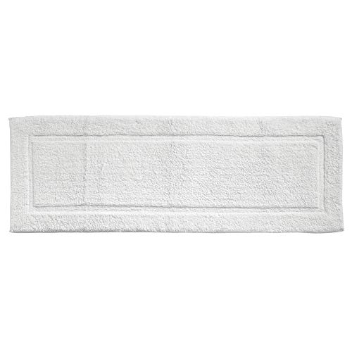 Runner Bath (mDesign Soft 100% Cotton Luxury Hotel-Style Rectangular Spa Mat Rug, Plush Water Absorbent, Decorative Border for Bathroom Vanity Bathtub/Shower, Machine Washable Long Runner - 60
