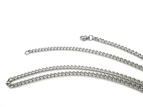 TRUSUPER Jewelry 2mm Titanium Steel Womens Beveled Curb Link Chain Silver Necklace, 18