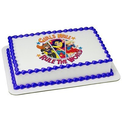 Super Hero SuperGirls Rule Edible Picture Cake Topper