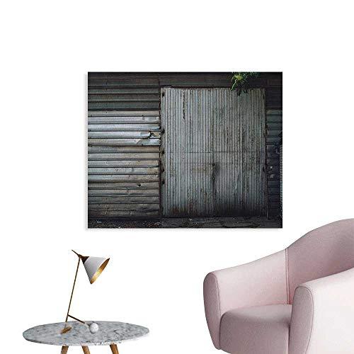 Anzhutwelve Industrial Wallpaper Obsolete Zinc Plated Steel Door Padlock Locked Gate Warehouse Print Custom Poster Grey Green and Brown W32 xL24