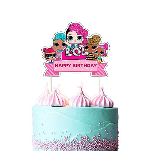 LOL Cake Topper, Happy Birthday Cake Topper, Pink Cake Decorations for Bday Theme Party - 1 count