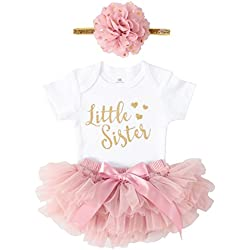 OoSweetCharlotteoO Newborn Baby Girl Coming Home Outfit Little Sister Bodysuits 3pcs (Newborn)