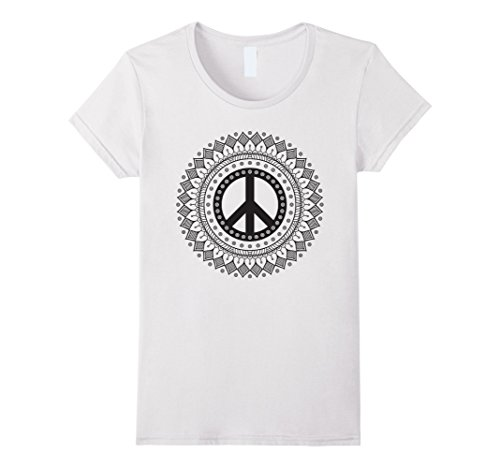 Womens PEACE SIGN LOVE Mandala Shirt 60s 70s Tie Dye Hippie Costume Small White 60s 70s Cotton
