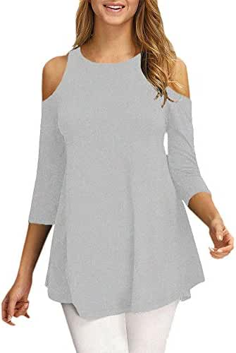 Afibi Womens Cold Shoulder Half Sleeve Swing Tunic Tops For Leggings