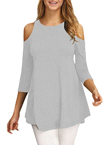 Afibi Womens Cold Shoulder Half Sleeve Swing Tunic Tops For Leggings (Small, Grey)