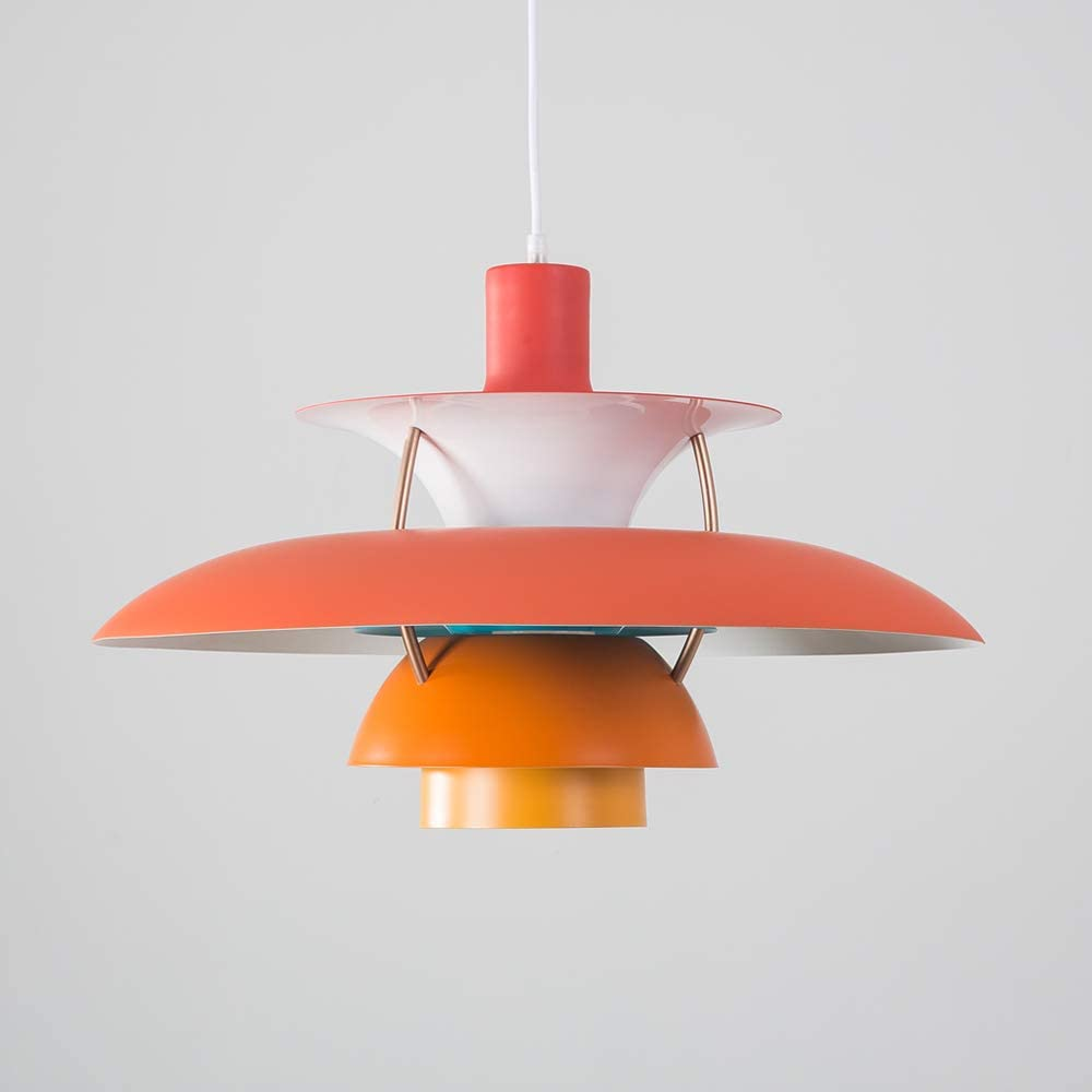 Samzim Pendant Light, Denmark Design Hanging Light Fixture, Mid Century Hues of Orange