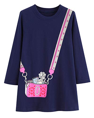 Youlebao Girls Cotton Long Sleeve Casual Cartoon Appliques Striped Jersey Dresses (7T, Black Bag)]()