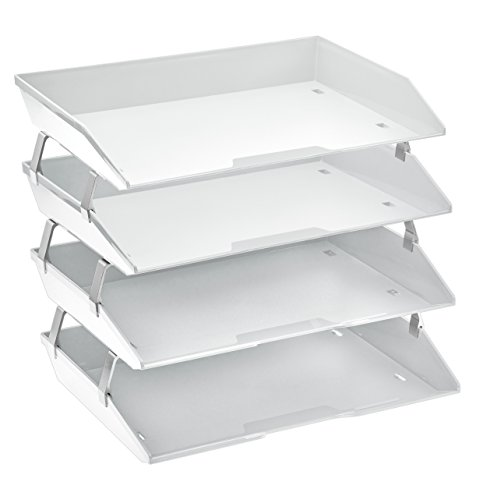 - Acrimet Facility 4 Tier Letter Tray Plastic Desktop File Organizer (White Color)