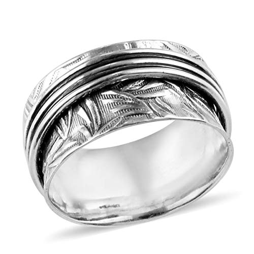 Fashion Stylish Spinner Oxidised Ring 925 Sterling Silver Boho Handmade Jewelry for Women Size 10