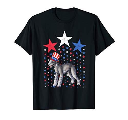 Bedlington Terrier Breed Dog America Flag Patriot T Shirt ()