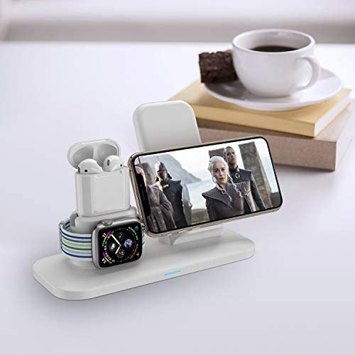 Wireless Charger, 3 in 1 Wireless Charging Station for Apple Watch and iPhone Airpods, Wireless Charging Stand Compatible for Apple iPhone X/XS/XR/Xs Max/8/8 Plus Apple Watch Series 4 3 2 1 Airpods 41JsAQG569L