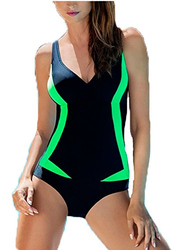 AQUA-SPEED® GRETA Badeanzug Frauen (3 Farbkombinationen Größen 36-48), Farbe:Schwarz-Grün;Größe:38