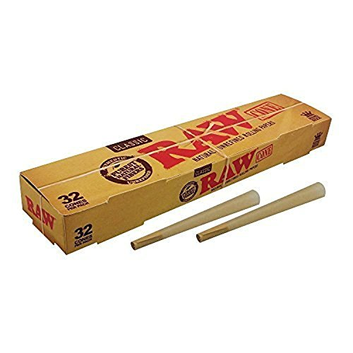 Raw Classic Natural Unrefined King Size PreRolled Rolling Paper Cones 32 Per Box