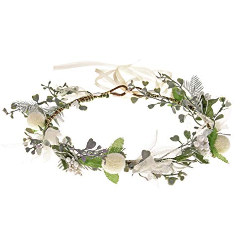 Boho Flower Headband Hair Wreath Floral Garland Crown Halo Headpiece with Ribbon Wedding Festival Party (White)