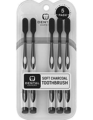 5 Pack Charcoal Toothbrush [GENTLE SOFT] Slim Teeth Head Whitening Brush for Adults &