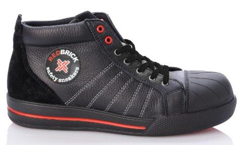 2W4 - RedBrick Sicherheitsschuhe S3 sportlich Sneaker Kappe und Sohle Schwarz/Rot