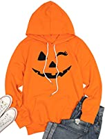Hoodie Sweatshirt Women Halloween Pumpkin Face Casual Pullover Pocket Drawstring Hood Tops
