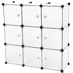 C&AHOME - 9 Cube Storage Organizer DIY Bookcase Shelf Toy Rack with Doors, Translucent