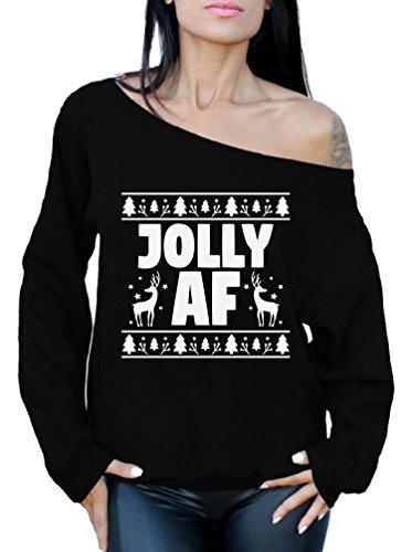 Awkward Styles Jolly AF Sweatshirt Off Shoulder Jolly AF Sweater Ugly Xmas Black L