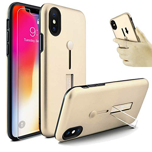 iPhone Xs Max Case, Owrora Finger Strap Case Finger Ring Band with Kickstand Case[with Tempered Glass Screen Protector] Rugged Case for iPhone Xs Max 6.5(Golden)