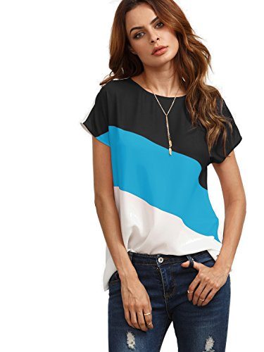 Romwe Women's Color Block Blouse Short Sleeve Casual Tee Shirts Tunic Tops Sky Blue M