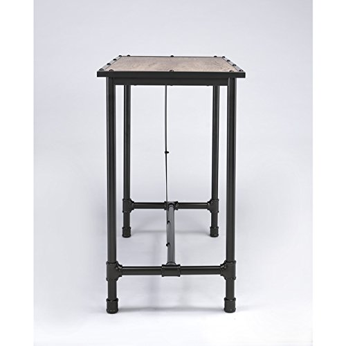 Caitlin Rustic Oak and Metal Bar Table, Made with wood, metal and (Metal Oak Pub Table)