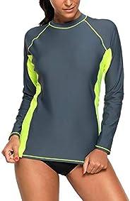 Bsubseach Women Long Sleeve Rash Guard Surfing Swim Shirt Colorblock Printed Swimsuit Top(No Bottom)