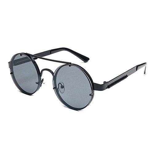 del Steampunk de Gris marco Gafas del coloridas Negro vintage Keephen los sol clásico conducen de UV400 que vidrios redondas Hnzqw518