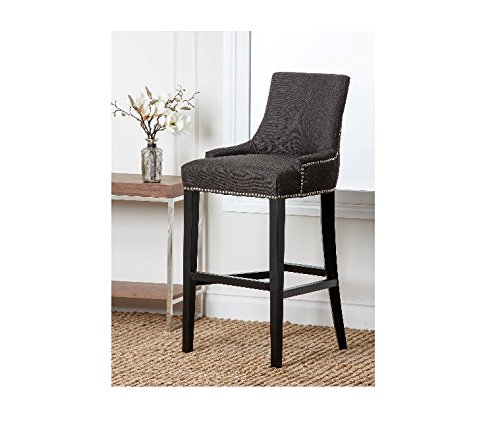 ABBYSON LIVING Newport Modern Grey Fabric Nailhead Trim Bar (Newport Wood High Chair)