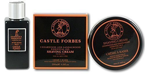 Castle Forbes Sandalwood & Cedarwood Essential Oil 150ml Aftershave Balm And 200ml Shaving Cream Set by Castle Forbes by Castle Forbes