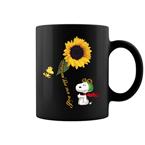 You Are My Sunshine Sun Flower Snoopy Ceramic Coffee Mug Tea Cup (11oz, Black)]()