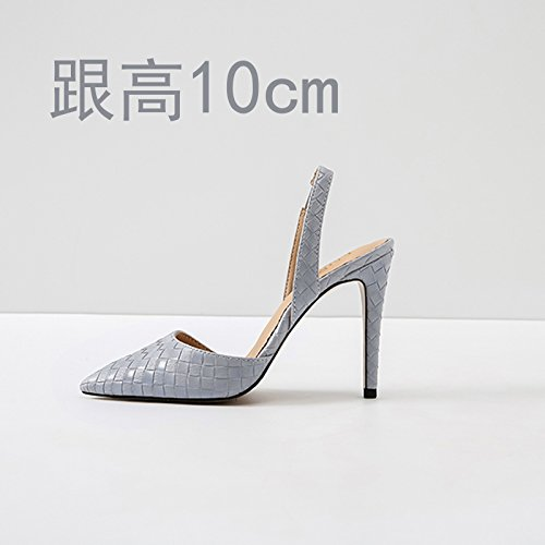Vivioo Høje Hæle Sandaler Høj Hæl Sommer Baotou Sandaler Højhælede Stilethæl Sko Lille Størrelse Lysegrå 10cm Oq3cR