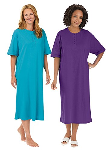 Womens Henley Nightshirt (Henley Nightshirts Set of 2, Turquoise/Purple, Size sizes 1X-3X)