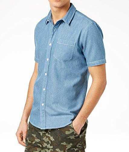 American Rag Mens Button Down Short Sleeve Shirt Blue 2XL