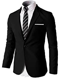 H2H Mens Slim Fit Single One Button Blazer Jackets with Pocketchief Trim