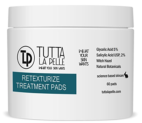 RETEXTURIZE 5-2 AHA+BHA ACNE Treatment Pads - 5% Glycolic Acid + 2% Salicylic Acid – ACNE Solutions, 60 Pads (Solution Pads Acne)