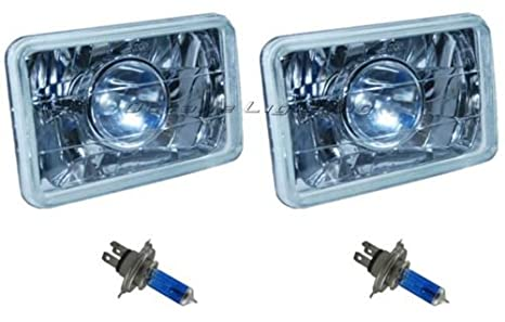 "4X6/"" Headlights Headlamp Halogen H4 Light Bulb Super White 60//55W HID 6000K Each"