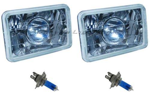 """OCTANE LIGHTING 4X6"""" Halogen Projector H4 Headlight Headlamp Bulbs Diamond Crystal Clear Pair"""