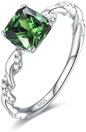 Merthus 1.6ct Created Emerald Green Silver Rope Band Ring for Women