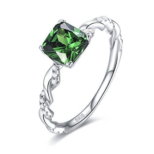 Created Emerald Cross - Merthus Womens 925 Sterling Silver Rope Band Created Emerald Ring