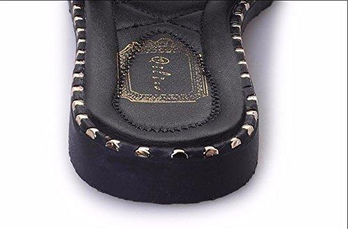 Chaussures Rome de Confortable et Simple Plage Black Télévision Petite Frais Ms l'eau Fond Style Emploi Forage étudiant Sandales Fashion Chaussons xiao123 Plat de Harajuku de Bx0gqwE