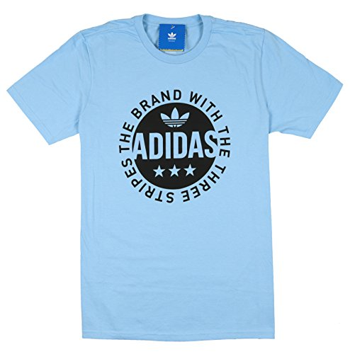 Adidas Men's Circle Star Logo T-Shirt Medium Clear Blue Black