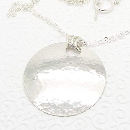Hammered Sterling Silver Large Disc Necklace 20 Inch
