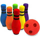 "Move-It Designed by Parents Development Foam Bowling Set, Designed for Extended Play with ""Playbook"", for Baby, Kids, Toddlers, Boys, Girls, Children 2-5 Years (6 pins & 1 Ball), Home Bowling Set"