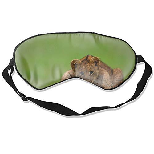 Silk Sleep Mask Blindfold Eyeshade Lion Cub Stone Lying Breathable Soft Protect Eye Mask for Travelling, Sleeping, Relaxation, Spa, Daydream on Plane