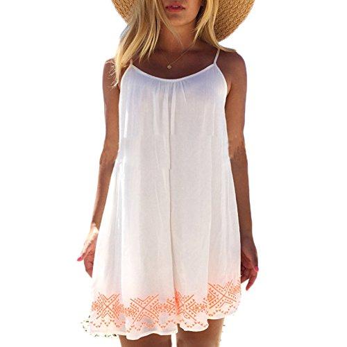 Frauen Rückenfrei Sling Chiffon ärmellos Rundkragen Kleid Beachwear Minikleid Freizeitkleid Strandkleider