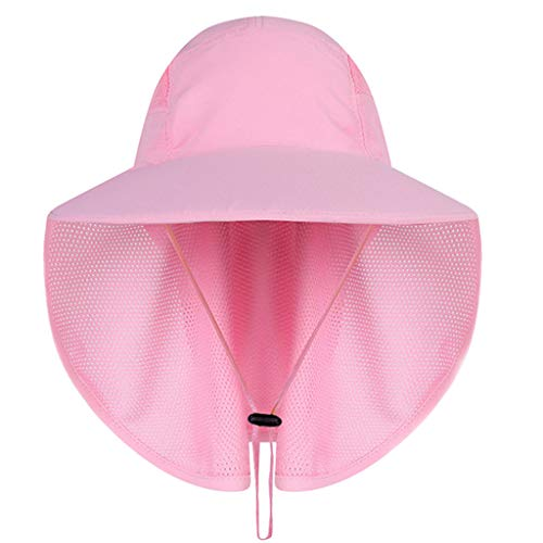 (Feitengtd Sun Hat Sports Outdoor Sun Protection Camping Fishing Hat Wide Brim Face Flap Cover Cap (Pink,)