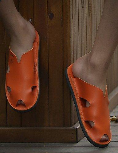 eu43 us10 NTX talla chanclas zapatos uk9 cn44 brown cn44 marrón de piel eu43 negro brown única Casual hombres uk9 hombre us10 de blanco OnaOf