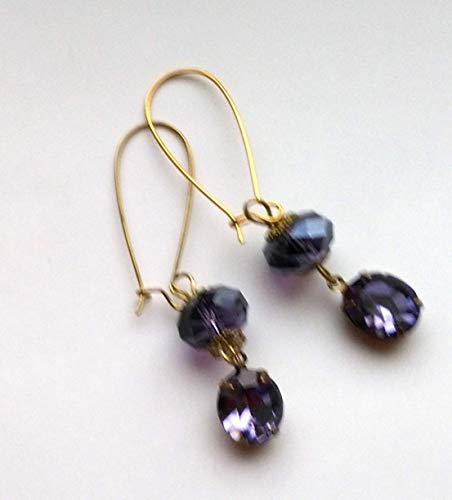Tanzanite Blue Violet Swarovski and Faceted Crystal Earrings ()