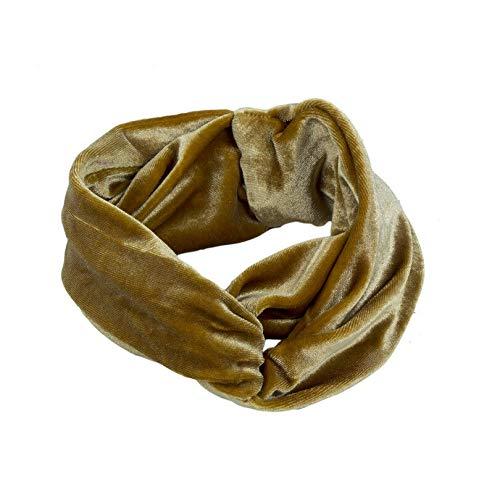 Womens Girls Headband Cross Velvet Soft Hair Band Hair Hoop Head Wrap Headwear (Color - gold)